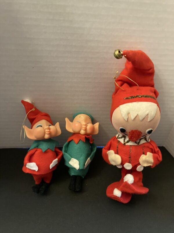 Vintage pixie elf Ornaments from Japan.. lot of three.. Felt