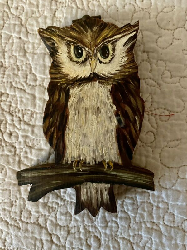 Vintage Owl Wall Hanging Wood Hand Painted