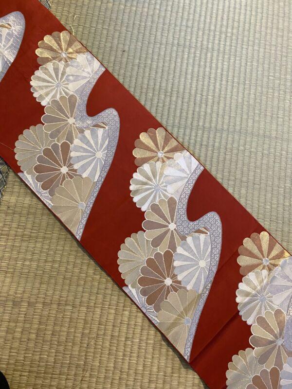 Vintage Japanese Nagoya Obi/  Red Color / Flowers #687