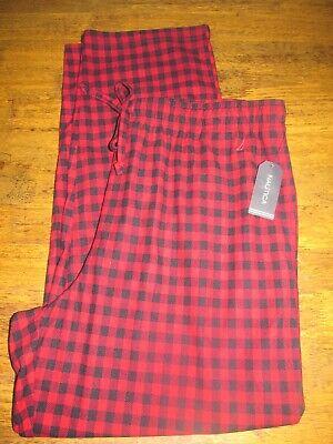 Nautica Men's Fleece Pajama Lounging Pants XL Red Black Lumberjack Plaid NEW