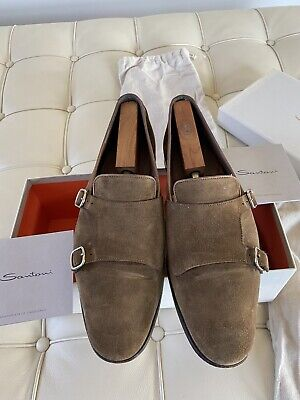 Santoni Double monk Suede Loafers 11.5 D - Trees Not Included