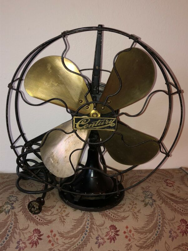 """1914 Antique Century Fan Brass Blades 12"""" Industrial 3 Speed Oscillates Works"""