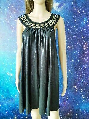JOHN ZACK black blue sparkling beaded club party dress size M/L