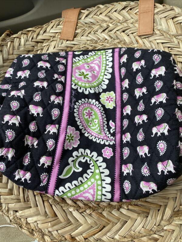 Vera Bradley Cosmetic Bag in Pink Elephants - Make-Up Case - Black, Paisley