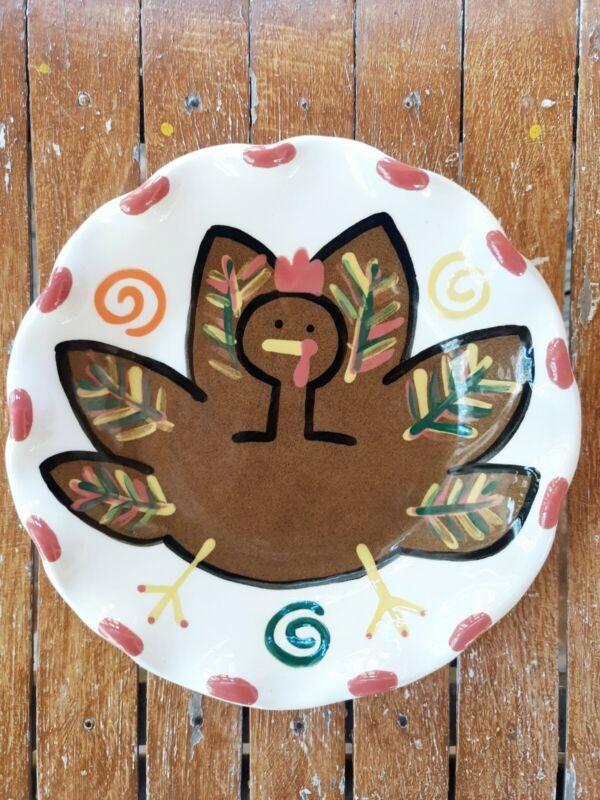 Retired Coton Colors SIGNED Laura Johnson Thanksgiving Turkey Ruffle Edge Bowl