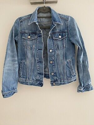 Vintage Gap Blue Distressed Denim Jacket With Stars On The Back Size XS