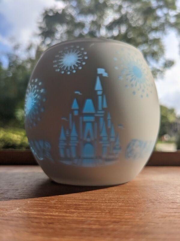 Rare Disney Fantasyland Castle Glass Votive Candle Holder, New