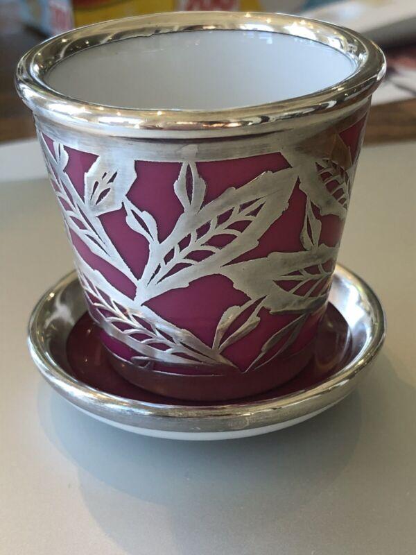 Vintage Rosenthal Miniature Sterling Silver Overlay Planter Pot Holder & Plate
