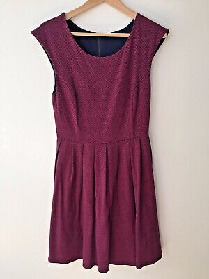 Cute Dress Magenta Pink Navy Lined Zip Back Knit Jersey Fabric Size SMALL for sale  Brooklyn