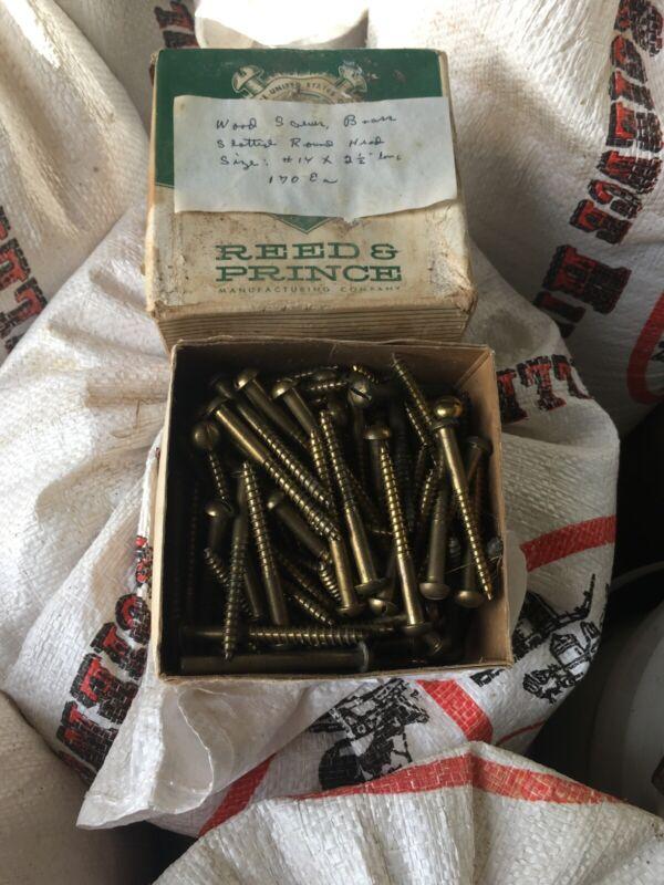 """Vintage Box Of #14 2 1/2"""" Brass Wood Screws Round Head"""