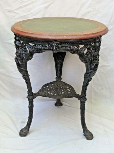 Antique Britannia Ornate Cast Iron Pub Table Wood Top