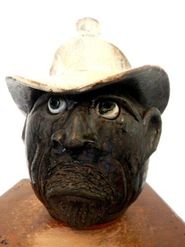 billy joe craven cow boy  face jug pottery, folk art, pottery 9