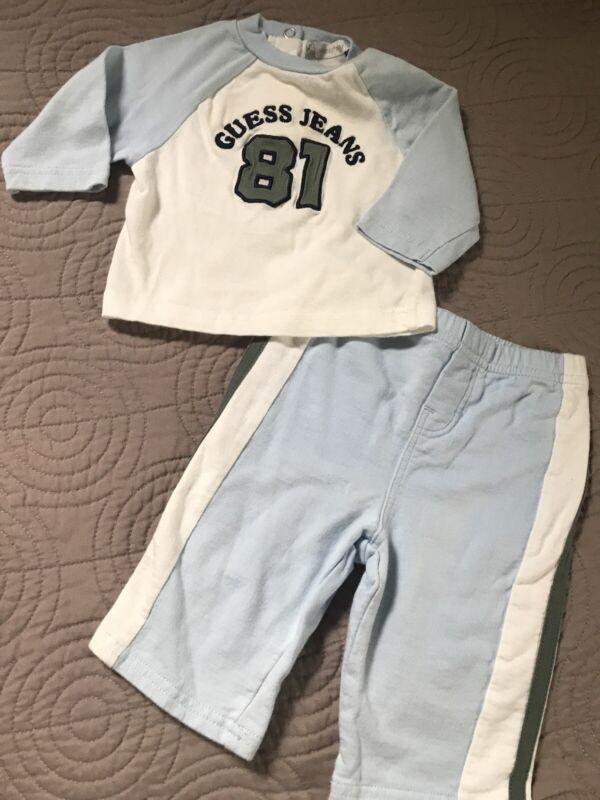 Infant Boys Guess Baby Blue Beige Green Outfit 3-6 Months