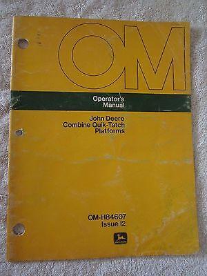 JOHN DEERE COMBINE QUICK-TATCH PLATFORMS OPERATORS MANUAL