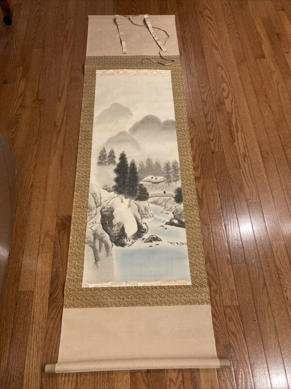 """Large 74"""" Chinese Wall Scroll--Original Watercolor of 53"""" Landscape"""