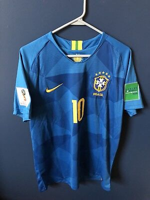 NEYMAR JR #10 BRAZIL Away JERSEY 2018 With World Cup Patches