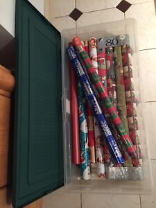 Christmas wrapping paper (10 rolls) & storage container