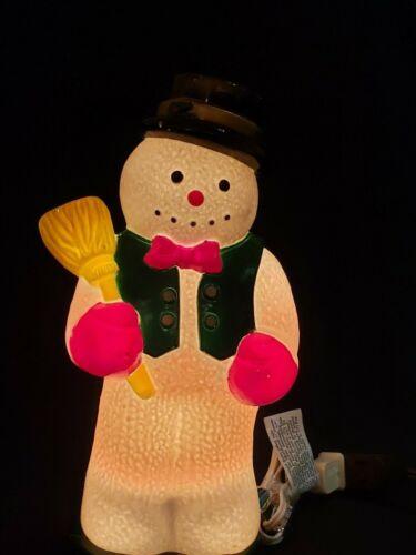"""Vintage Hard Plastic Snowman Christmas Tabletop Light 11"""" Plug In"""