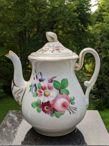 Vintage Haviland Depose English Porcelain Teapot Flowers Gold Trim Rose Finial