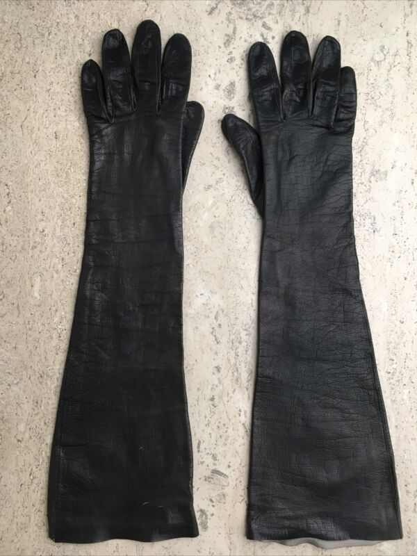 """Vintage Leather Gloves Womens Black Opera Length Size 7.5 Unlined 18.5"""""""