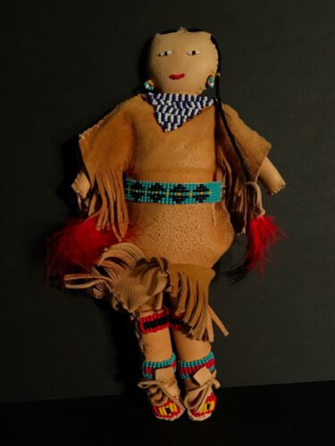 NATIVE AMERICAN PLAINS BEADED ON HIDE DOLL, EXCELLENT CONDITION