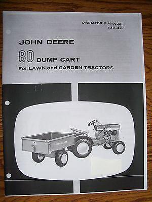 John Deere 110  112 Dump Cart Manual 80 Plus Parts Manual Round Fender