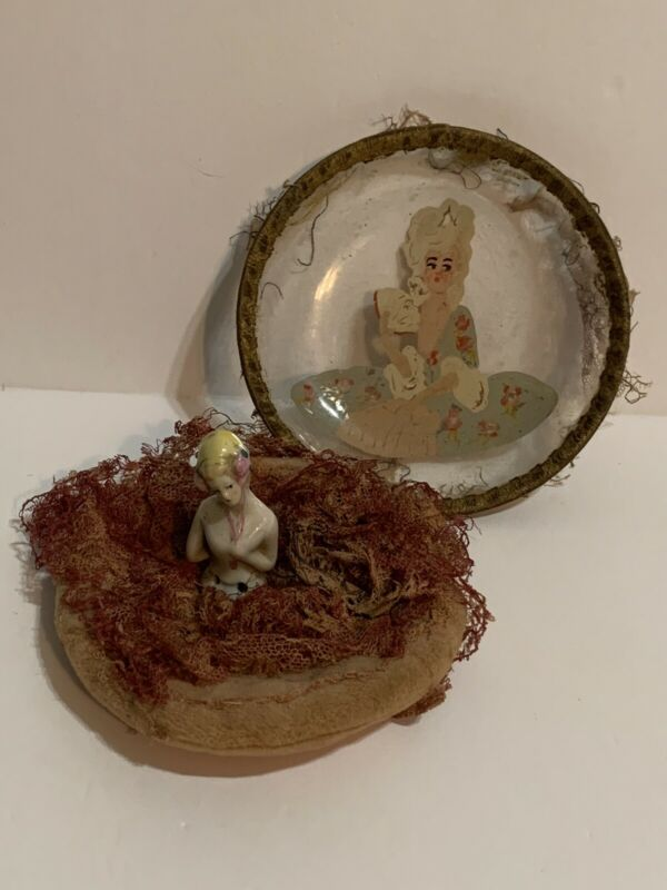 Vintage Powder Puff Pin Cushion Hand Painted Glass Lid doll