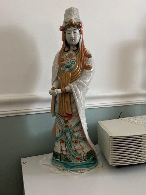 """Vintage Japanese Buddha  kutani Yaki moriage Kannon statue 18"""""""