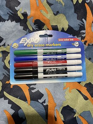 5 Pack -expo Low-odor Ink Dry Erase Markers Fine Point Tip Assorted Colors