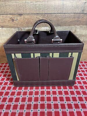 Vintage Modern Thomas O Brien Leather Canvas Magazine Tray Bag Luggage Large