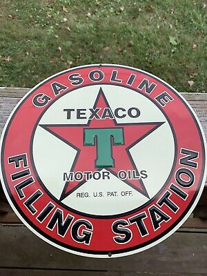 Vintage Texaco Motor Oil Gas Filling Station Circular Cast Iron Metal Sign