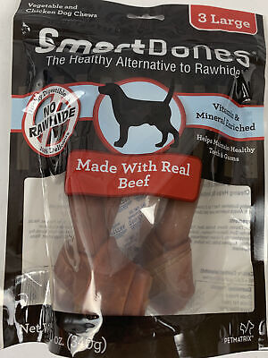 Lot of 2. SmartBones Beef Dog Chews, Large, 3 Count.