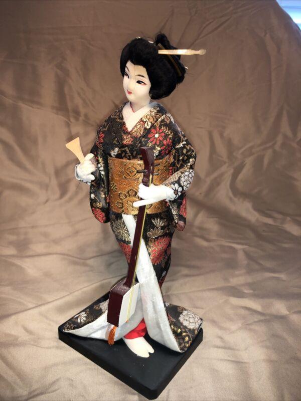 "Traditional 11"" Geisha Girl Kimono Doll - Made in Japan"