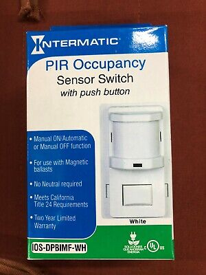 New Pir Occupancymotion Sensor Switch Ios-dpbimf-wh Intermatic With Push Button