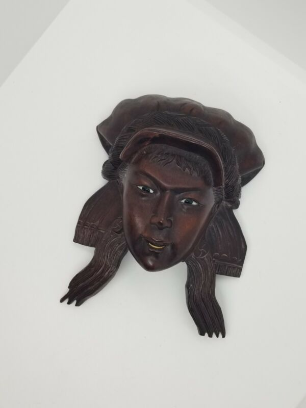 Vintage Antique Hand Carved Wood Girl Sculpture Carving Mask Extremely Rare!