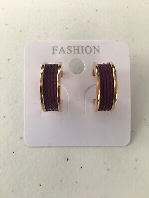 CHARRIOL Forever Plum & Rose Gold-Tone Small Enamel Cable Huggie Hoop Earrings Enamel Gold Tone Earrings