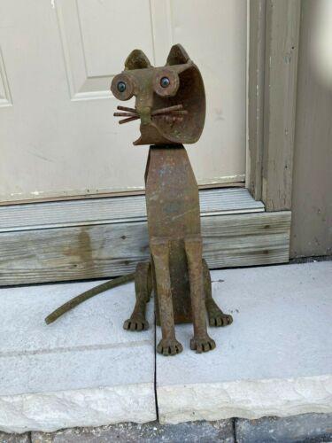 Original Rare Vintage Cat Sculpture Wrought Cast Iron by artist Robert Cumpston