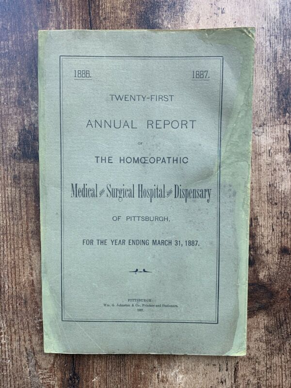 Rare Medical 19th Century Report On Homeopathy Pittsburgh
