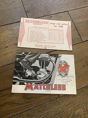 1958 Matchless Motorcycle Sales Catalogue G11CS G9 G11 G45 G3 350 500 650 G80 LS