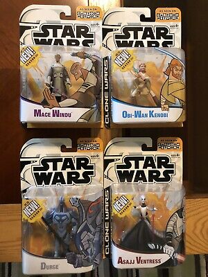 Star Wars Clone Wars Cartoon Network Action Figures Lot Of 4 MOC HTF Mint Hasbro