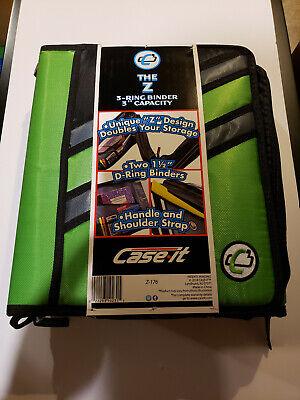 Nwt Case-it The Z 2-in-1 Zipper 3-ring Binder 3 Capacity Green Z-176