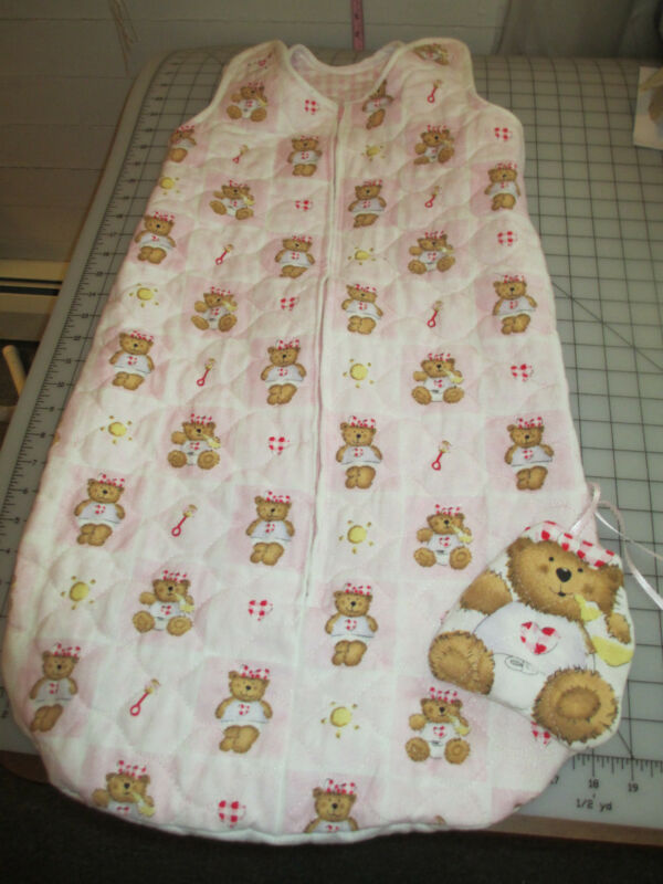 Baby Bunting Bag*New**Handmade*Pink Gingham/Bears
