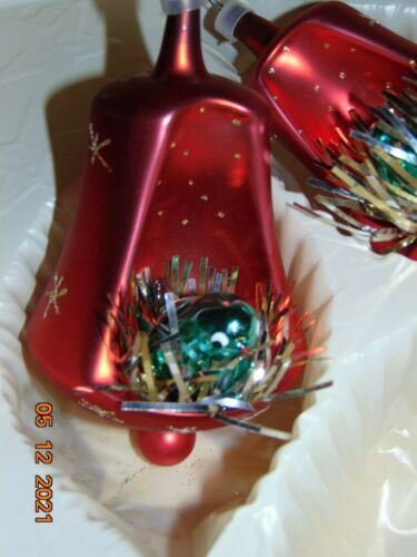 Vintage Bronson Imports Mouth Blown Hand Decorated Glass Bird~ 2 Ornaments & Box
