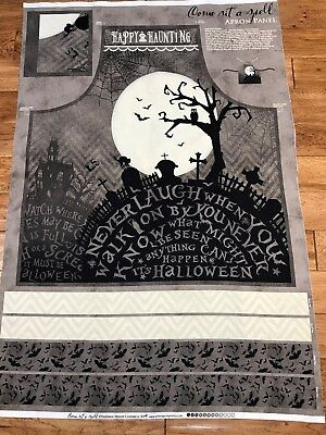 Come Sit a Spell Halloween cotton Apron fabric panel - Halloween Fabric Panels