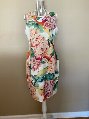 H&M Women's White Vibrant Floral Print Bodycon sleeveless Dress sz Large