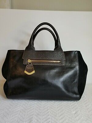 NICOLI BlackItalian Leather with Suede side panels Handbag, Gold accents