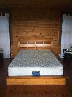 Solid Timber Queen Bed w/ Matress