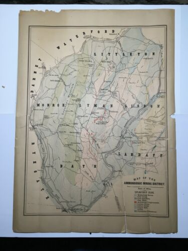 Rare Antique Original Hand-colored Map of Ammonoosuc Mining District