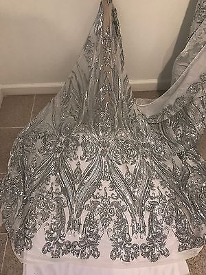 WHITE STRETCH MESH W/SILVER  SEQUINS  EMBROIDERY FABRIC 50