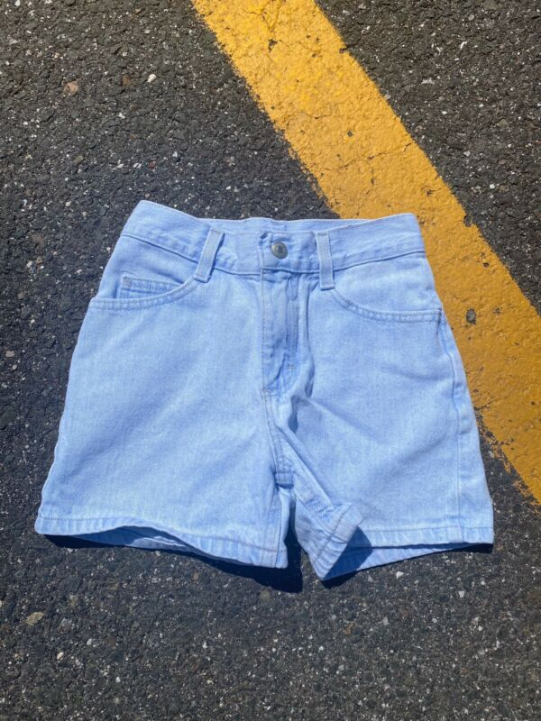 Vintage 90s Light Blue Girls Denim Lee Shorts Size 8 Blue Tab